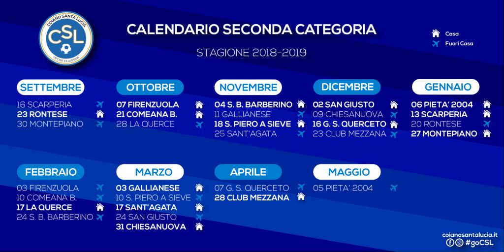 Santa Lucia Calendario.A C Coiano Santa Lucia A S D Calendari Partite